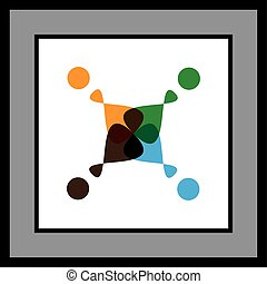 vector logo icon of people in circle