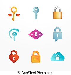 Vector logo icon set based on key and secure lock symbols