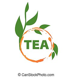 vector logo imprint tea and green leaves