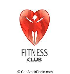 vector, logo, in, rood hart, meisje