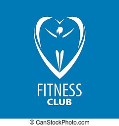 vector logo in the heart of the girl on a blue background