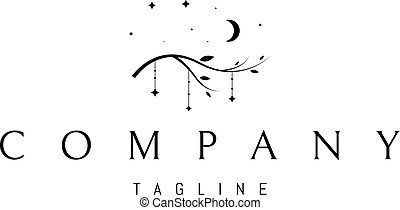 Vector logo design in which an abstract image of a tree branch, in the form of toys for a lullaby on a background of stars and the moon.