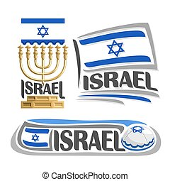 Vector logo Israel, 3 isolated images: vertical banner...