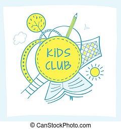 Vector logo kid club, child development center with earth, sun,