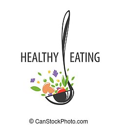 vector logo ladle and vegetables for a healthy diet