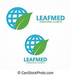 Vector logo leaf with globe