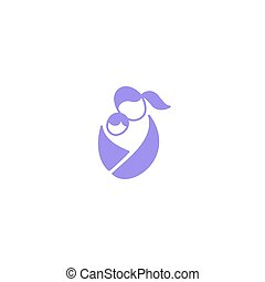 Vector logo mother with baby in sling. Sling, motherhood and...