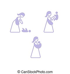 Vector logo mother with her baby in sling. Sling logotype set