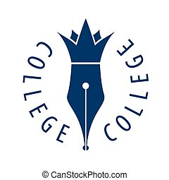 vector logo nib and crown for college