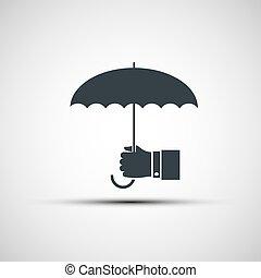 Vector logo of a human hand holding the umbrella