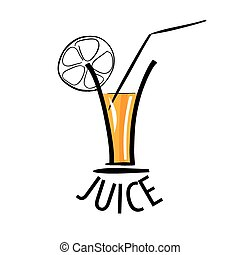 vector logo of fresh juice in a glass