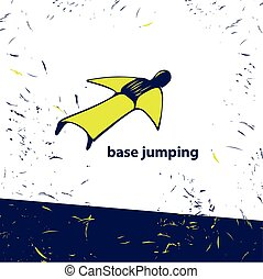 Vector logo of jumping wingsuit. Super extreme sport for flying