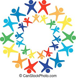 Vector logo of many human figures of all colors of the rainbow with their arms raised and their legs spread apart arranged in a circle with the same circle of little men inside on a white background