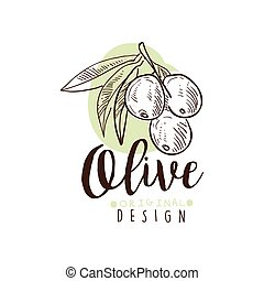 Vector Logo of Olives Hand Drawn On A Branch