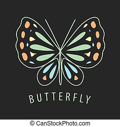 vector logo of the butterfly patterns on a dark background
