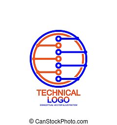 Vector logo of the electronic component. Abstract digital technology. Isolated on a white background.