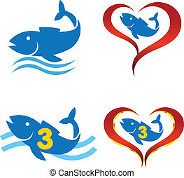 vector logo omega fish on heart
