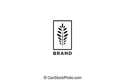 Vector logo on which an abstract image of a fern leaf in a rectangle.