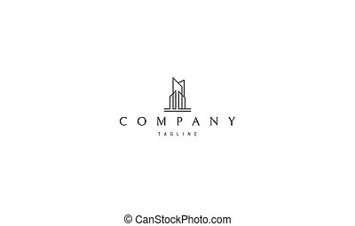 Vector logo on which an abstract image of skyscrapers.