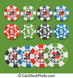Vector logo poker Chips: eight different playing tokens set, colorful casino chips with dollar sign, chip with icon cards suits: black spades, red hearts, diamonds, clubs isolated on green background.