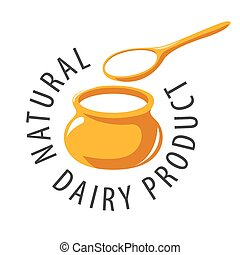 vector logo pot and a spoon with milk product