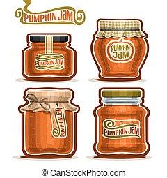 Vector logo Pumpkin Jam in Jars