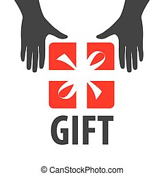 vector logo red box and hands