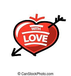 vector logo red heart and arrow