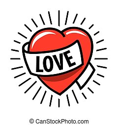 vector logo red heart and ribbon