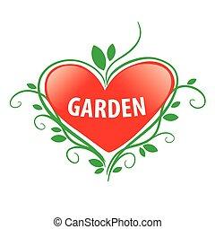 vector logo red heart for the garden