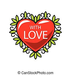 vector logo red heart in floral ornament