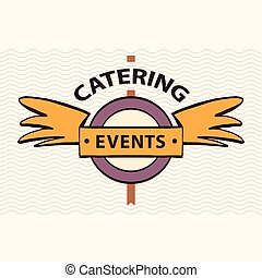 Vector logo restaurant, cafe for exclusive events. Quick and tasty