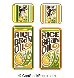 Vector logo Rice Bran Oil, set labels for cooking rice bran...