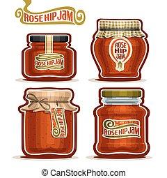 Rose Hip Jam in Jars - Vector logo Rose Hip Jam in Jars with...