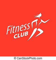 vector logo running girl on a red background