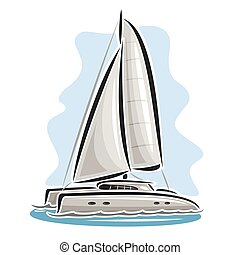 Vector logo sailing catamaran, sailboat, sailer, sloop,...