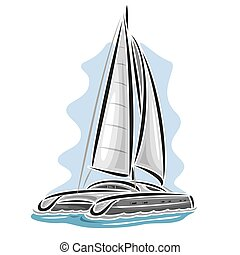 Vector logo sailing catamaran