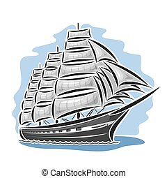 Vector logo sailing ship