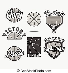 Vector Logo Set for a Basketball Team. Collection of graphic...
