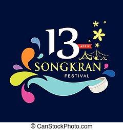 Vector logo songkran festival of Thailand