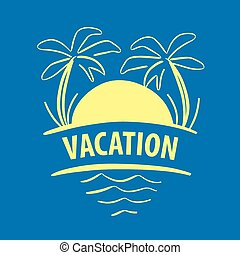 vector logo sun, palm trees, sea