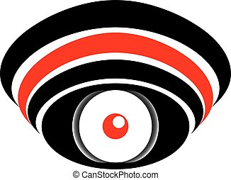 Vector logo symbol abstract eye with a red pupil with a white highlight and with arched lines above the eye of black and red on a white background