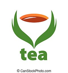vector logo tea and green leaves