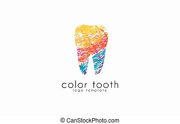 Vector Logo Template. Silhouettes of Tooth with Abstract Colorful  tooth. Logo for Dental Clinic