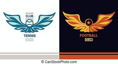Vector logo template soccer football team. Wings of a bird, an e
