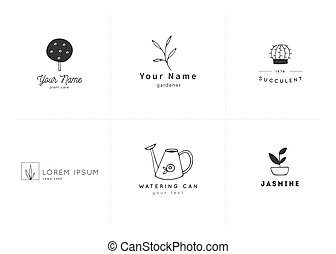 Vector logo templates set. Hand drawn garden isolated elements.