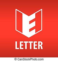 vector logo the letter E in the open book