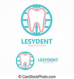 Vector logo tooth with world
