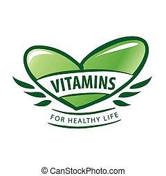 vector logo vitamins as a green heart