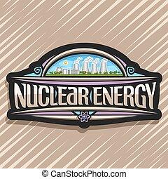 vector, logo, voor, kernenergie
